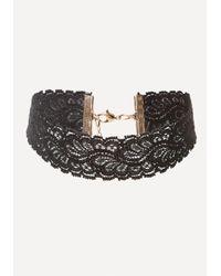 Bebe - Black Delicate Lace Choker - Lyst