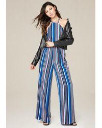 Bebe | Blue Striped Wide Leg Jumpsuit | Lyst