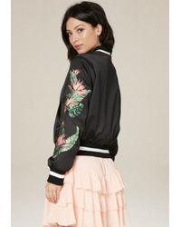 Bebe Black Embroidered Bomber Jacket