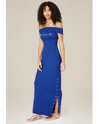 Bebe | Blue Logo Snap Slit Maxi Dress | Lyst