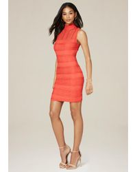 Bebe | Red Lace Panel Mock Neck Dress | Lyst