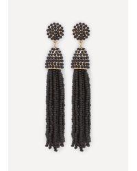 Bebe - Black Beaded Tassel Earrings - Lyst