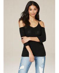 Bebe | Black Tie Shoulder Sweater | Lyst