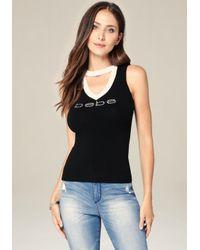 Bebe | Black Logo Strap Sweater Tank | Lyst