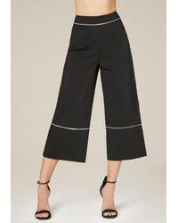 Bebe | Black Piped Crop Pants | Lyst