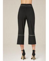 Bebe - Black Piped Crop Pants - Lyst