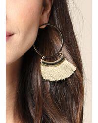 Bebe - Metallic Tassel Trim Hoop Earrings - Lyst