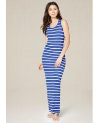 Bebe | Blue Back Lace Up Maxi Dress | Lyst