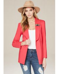 Bebe | Red Bow Pin Jacket | Lyst