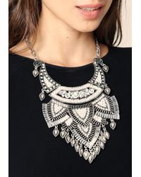 Bebe - Multicolor Crystal Plate Bib Necklace - Lyst