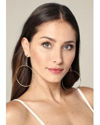 Bebe - Metallic Drop Hoop Earrings - Lyst