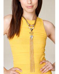Bebe - Metallic Fringe Lariat Necklace - Lyst