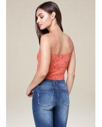 Bebe Multicolor Lace Strappy Bodysuit