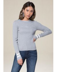 Bebe - Gray Logo Sporty Ribbed Sweater - Lyst