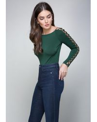 Bebe - Green Lace Up Sleeve Scoop Top - Lyst