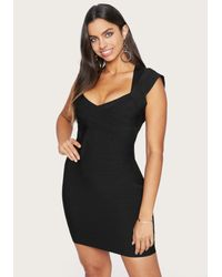 Bebe Black Cap Sleeve Bandage Dress