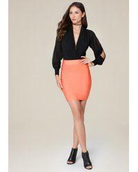 Bebe Pink Solid Bandage Skirt