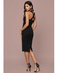 Bebe Black Velvet Inset Midi Dress
