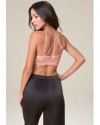 Bebe - Pink Strappy Back Bralette - Lyst