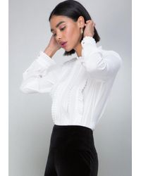 Bebe - White Pleat & Ruffle Blouse - Lyst