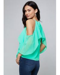 Bebe Green Ruffled Cold Shoulder Top