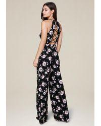 Bebe | Black Print Wide Leg Jumpsuit | Lyst