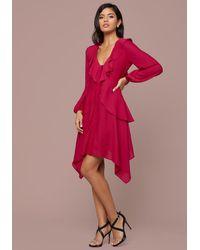 Bebe Red Elyse Ruffle Neck Dress