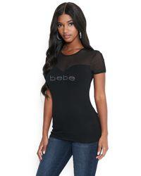 Bebe Black Logo Sweetheart Tee