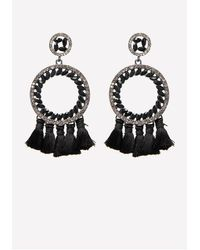 Bebe Multicolor Tassel Hoop Earrings