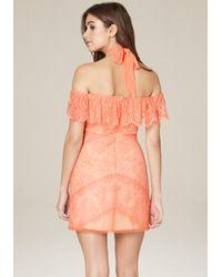 Bebe - Orange Kendall Lace Dress - Lyst