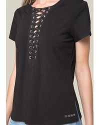 Bebe - Black Marian Lace Up Top - Lyst