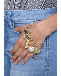 Bebe - Blue Logo Charm Bracelet - Lyst