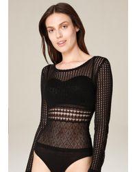Bebe - Black Mix Pointelle Bodysuit - Lyst