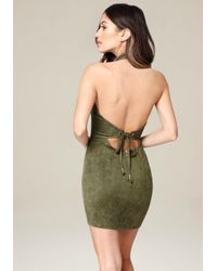 Bebe - Green Aria Faux Suede Dress - Lyst