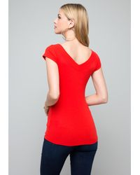 Bebe Red Logo Double V-neck Tee
