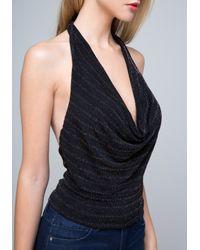 Bebe - Black Glittering Cowl Neck Top - Lyst