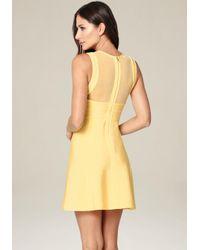 Bebe Yellow Mesh Detail Flared Dress