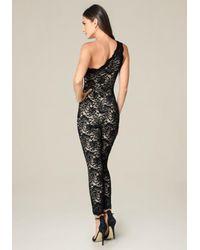 Bebe | Black Lace One Shoulder Catsuit | Lyst
