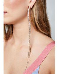 Bebe - Metallic Crystal Drape Hoop Earrings - Lyst