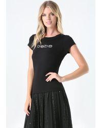 Bebe Black Logo Rhinestone Tee