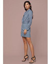 Bebe Blue Plaid Jacket Top