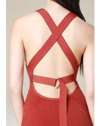 Bebe - Red Ribbed Crossback Dress - Lyst