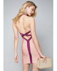 Bebe Multicolor Halter Bandage Mini Dress