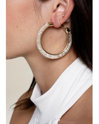 Bebe   Metallic Crystal Wide Hoop Earrings   Lyst