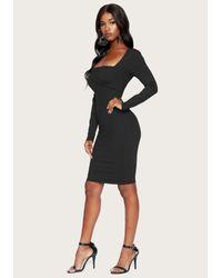 Bebe Black Square Neck Dress