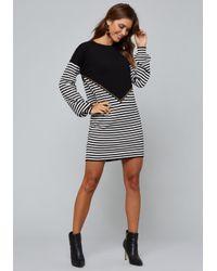 4e204100456 Bebe Suzy Striped Sweater Dress in Black - Lyst