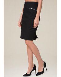 Bebe Black Cotton Twill Zip Midi Skirt