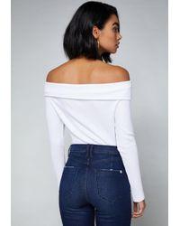 Bebe - White Roxy Ribbed Bodysuit - Lyst
