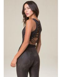 Bebe Black Emily Back Lace Up Bodysuit