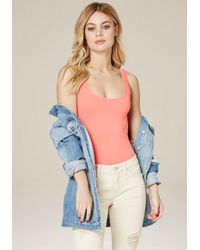 Bebe - Pink Scoopneck Bodysuit - Lyst